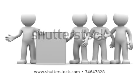 3d character showing blank banner to the goup of people stock photo © kirill_m
