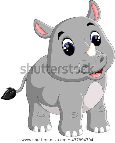 baby rhino cartoon stock photo © aminmario11