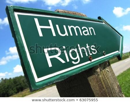 human rights on green arrow stock photo © tashatuvango
