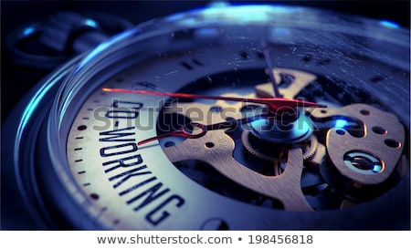 Co-Working on Pocket Watch Face. Time Concept. Stock photo © tashatuvango