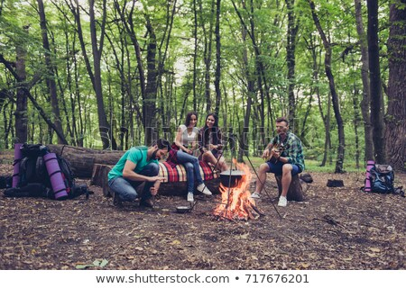 gathered place around the campfire stock photo © frameangel