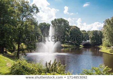 çeşme Riga kanal park ağaç Stok fotoğraf © amok