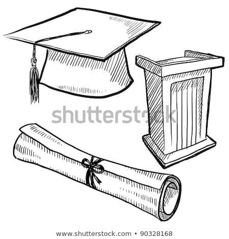 Kroki mezuniyet diploma ilerleyin bağbozumu stil Stok fotoğraf © kali