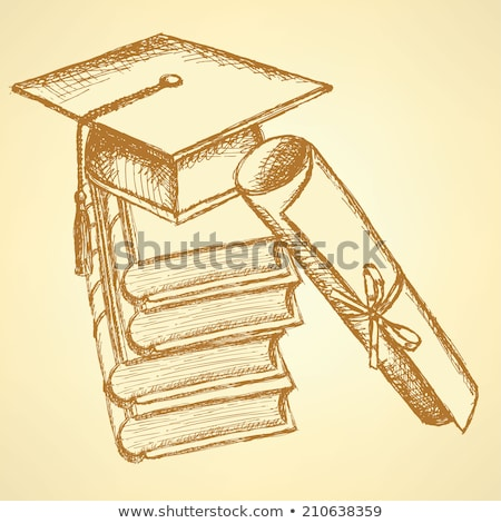 Sketch deck of books with hat on the top and with papyrus Stock photo © kali