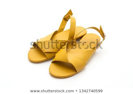 Citromsárga szandál bőr nyár izolált fehér Stock fotó © zhekos