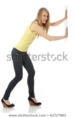 Isolado jovem casual mulher imaginário Foto stock © cherezoff