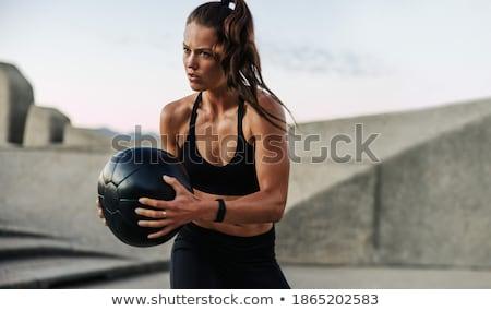 fitness · exercice · balle · athlétique · jeune · femme · jeunes - photo stock © darrinhenry