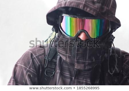 Stock fotó: Hátizsákos · turista · tavasz · füstös · hegyek · hó · kaland