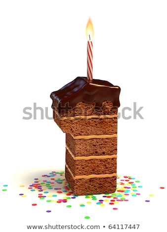 Birthday cake with burning candle number 1 Stock photo © Zerbor