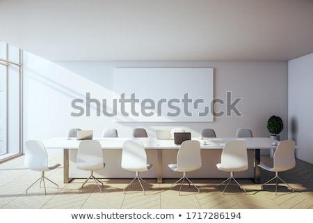 Conferentiezaal interieur moderne tv hout televisie Stockfoto © gemenacom