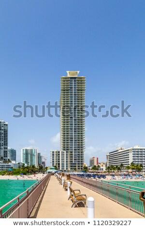 Miami · tengerpart · fű · épületek · Florida · USA - stock fotó © meinzahn