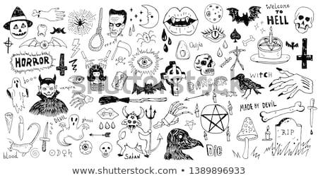 Diabeł gryzmolić rysunek biały papieru farbują Zdjęcia stock © stevanovicigor