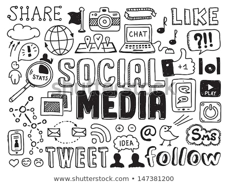 social media doodles sketch set with infographics elements isolated stock photo © davidarts