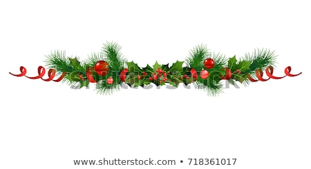 christmas border ribbons gold poinsettias stock photo © irisangel