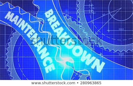 Karbantartás terv fogaskerekek technikai rajz stílus Stock fotó © tashatuvango