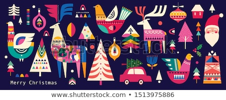 santa birds on a tree, vector Stock photo © beaubelle