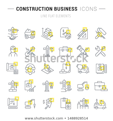 construction tools square vector yellow icon design set stock photo © rizwanali3d