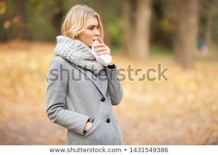 かなり ブルネット 女性 鼻をかむ 白 セクシー ストックフォト © wavebreak_media