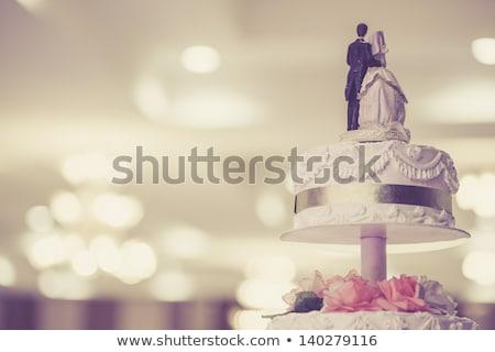 Menyasszony pár esküvői torta Stock fotó © pixpack