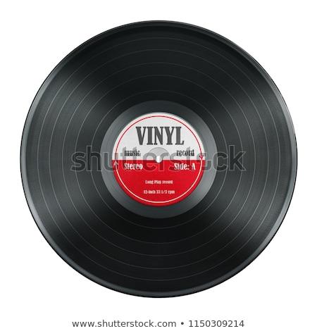 Lp lemez piros bakelit zene lemezjátszó Stock fotó © Suljo