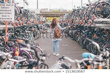fiets · parkeren · stad · abstract · zomer · teken - stockfoto © amok