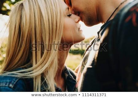paar · zoenen · bed · glimlach · liefde · home - stockfoto © bezikus