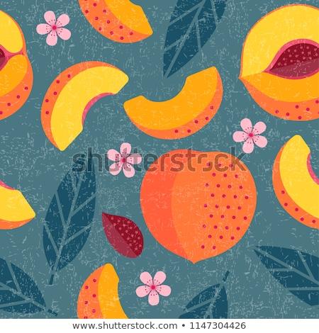 ファーム · 新鮮な · 桃 · カット · 全体 - ストックフォト © rojoimages