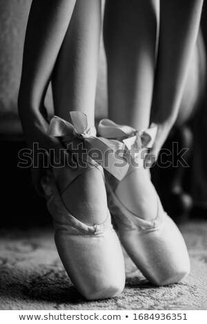 the feet of a young ballerinas in pointe shoes stock photo © master1305