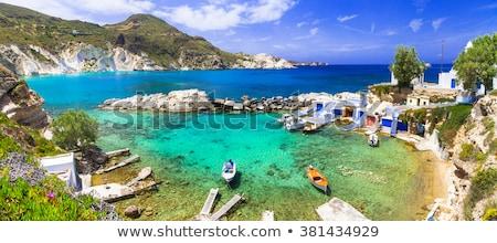 白 · ローイング · ボート · ギリシャ · 水 · 太陽 - ストックフォト © ankarb