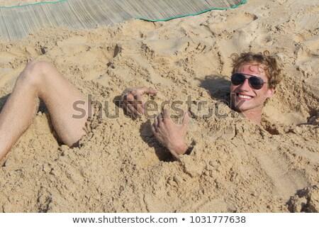 Erkek tek başına kum plaj güzel gülümseme Stok fotoğraf © ajfilgud