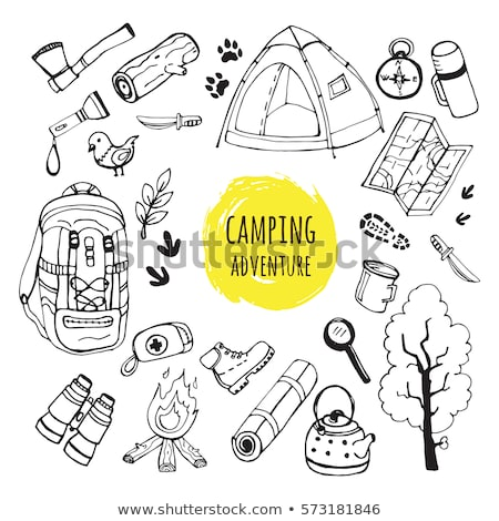 Camping equipment and travel icons set - campsite Stock photo © Winner