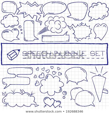 doodle · ingesteld · Blauw · partij - stockfoto © pakete