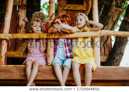 Little girl from back,  trees  and houses Stock photo © Paha_L
