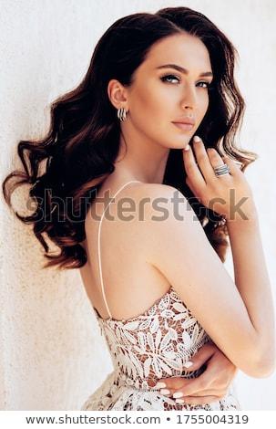 Gyönyörű luxus nő gyönyörű nő művészi smink Stock fotó © lubavnel