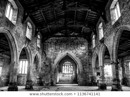 Inside of old ruined church. Black and white image Stock photo © amok