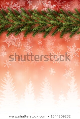christmas greeting card   snowy branches eps 10 stock photo © beholdereye
