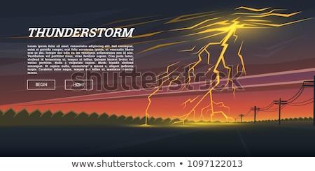 Kentsel yıldırım yaz gece fırtına enerji Stok fotoğraf © marcrossmann