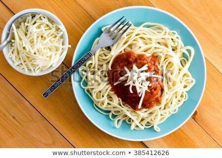Italiano espaguete queijo acompanhamento ver mesa de madeira Foto stock © ozgur