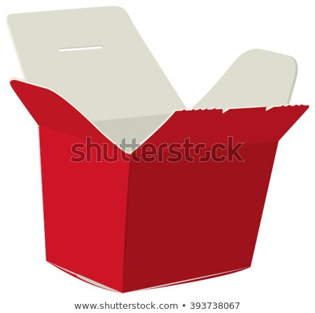 Japanese food box. Red open box for noodle. Cardboard box for sushi Stock photo © orensila