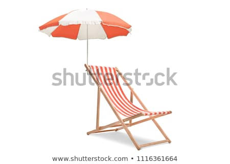 Beach with chairs and umbrellas Stock photo © neirfy