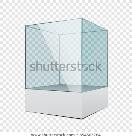 Stok fotoğraf: Empty Glass Showcase 3d Exhibition Space