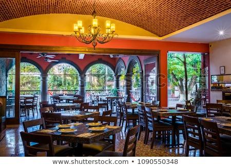 restaurante · interior · tabela · projeto · público · lugar - foto stock © bezikus