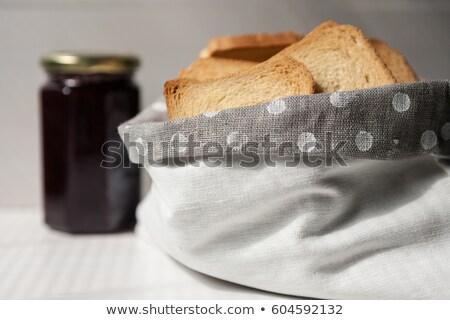 Pirítós kenyér szalvéta fahéj közelkép falatozó Stock fotó © Digifoodstock