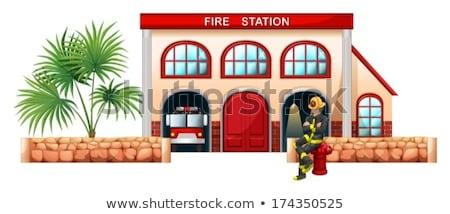 пожарный за пределами огня станция иллюстрация белый Сток-фото © bluering