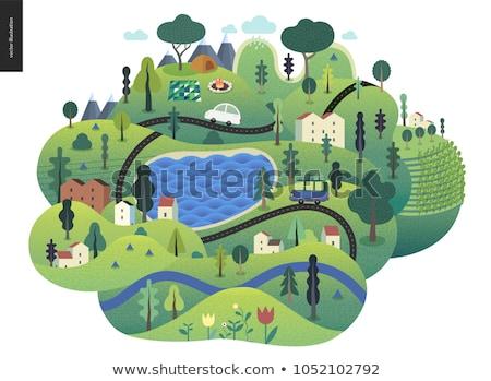 болото · 19 · дерево · пейзаж · горные · зеленый - Сток-фото © kotenko