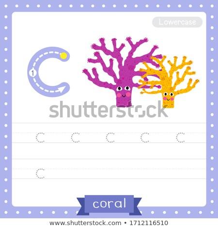 Сток-фото: буква · С · коралловый · риф · иллюстрация · фон · искусства · образование