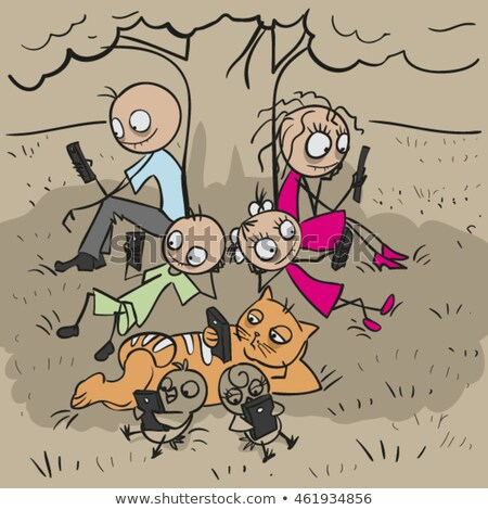 Big family under tree. Everyone looks at phone Stock photo © orensila