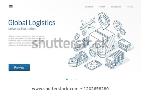 vracht · containerschip · schets · icon · vector · geïsoleerd - stockfoto © rastudio