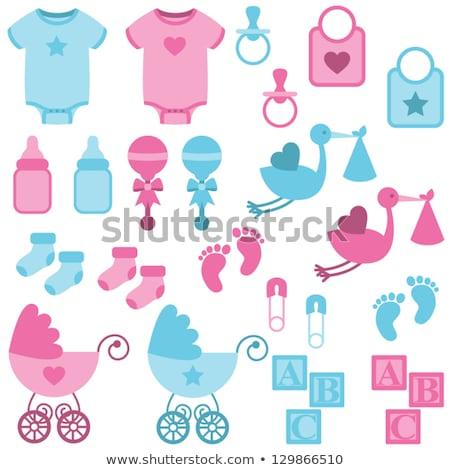 Baba zuhany ikon szett fiú kék lány Stock fotó © Photoroyalty