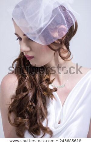 Gyönyörű menyasszony divat esküvői ruha pózol római Stock fotó © Victoria_Andreas